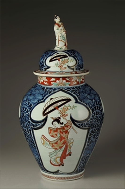 LARGE JAR Porcelain with design of a lady holding a parasol in overglaze polychrome enamels
