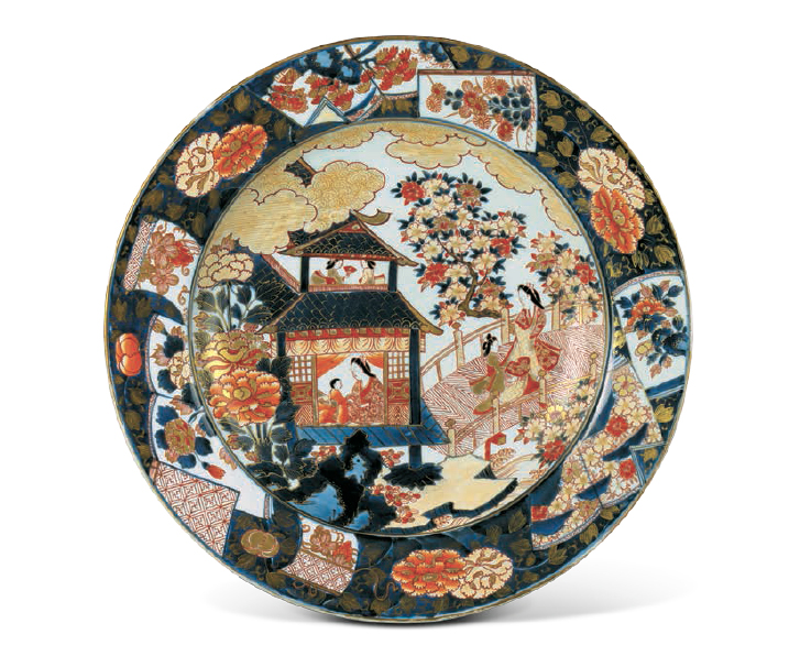 LARGE DISH Porcelain with design of a pavilion and ladies in overglaze polychrome enamels