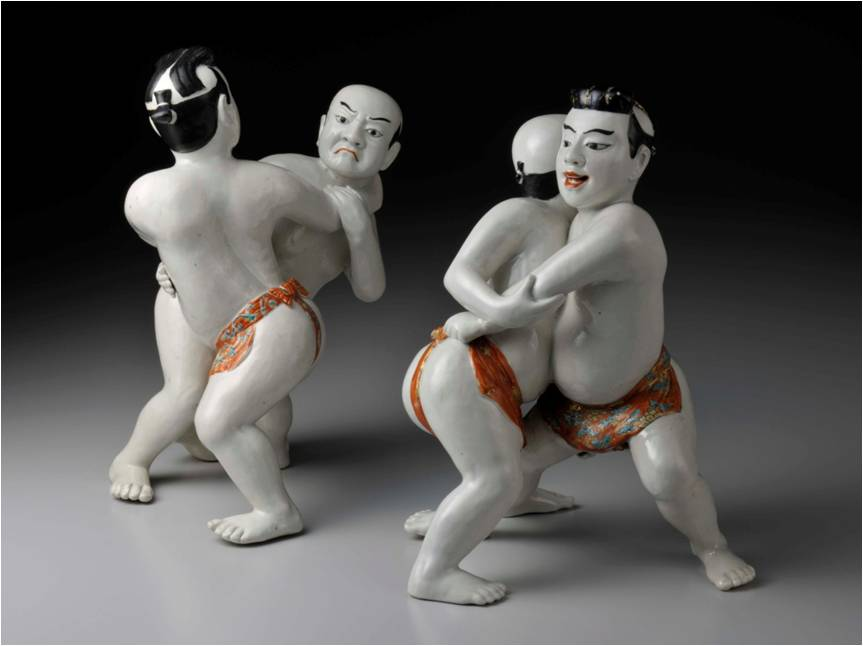 FIGURINES OF SUMO WRESTLERS (two sets)