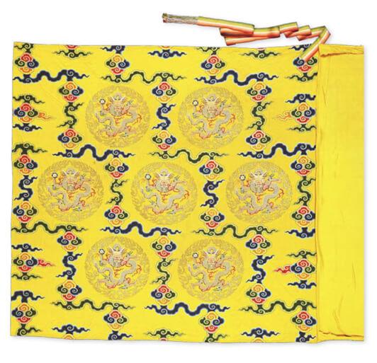 The In-between Layer of the Double-layered Yellow Wrapping Satin Woven with Flower Patterns: Gold-embroidered Yellow Satin Featuring coiled Dragons with Patterns of Ruyi, Clouds, and Flowers
