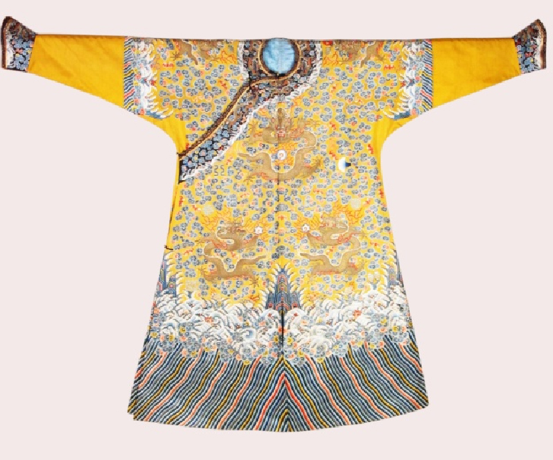 明黃地繡彩雲金龍十二章紋龍袍