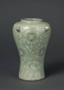 Four-handled Pot with Inlaid Chrysanthemum Design