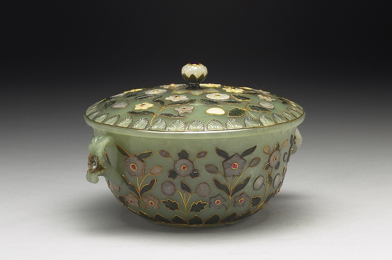 Jade Bowl with Two Handles and Lid