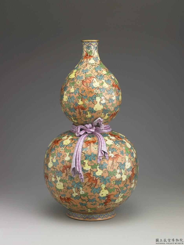 粉彩福祿壽葫蘆瓶